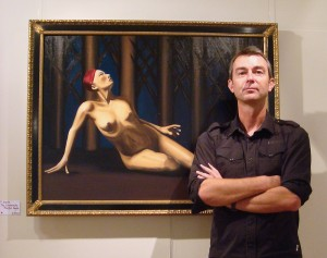 Local artist Davy Macdonald in front of one of his Dante series of paintings
