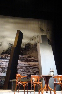 The monolithic set of Confessions Of A Justified Sinner at the Lyceum Theatre