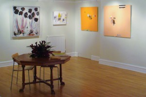 Kim Canale's and Mauro Betti's paintings hanging together at Perfect Imperfections