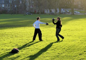 Fencers practice in the Meadows