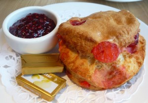 Cheery scone with Baxter's jam