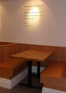 Wooden seating at Jacks