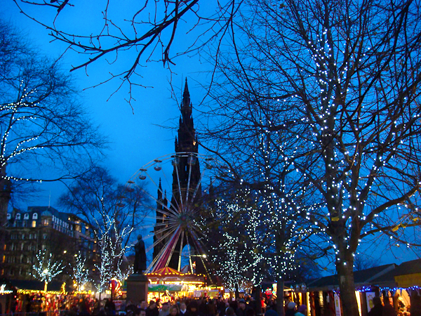 Edinburgh's Winter Wonderland at dusk