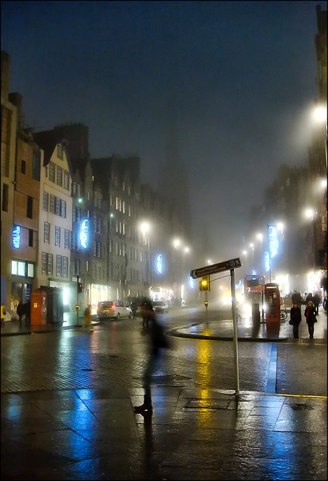 The Royal Mile on a cold, misty evening