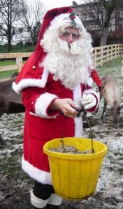 Santa with the reindeer food