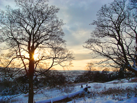 Snowy sunset from Corstorphine Hill