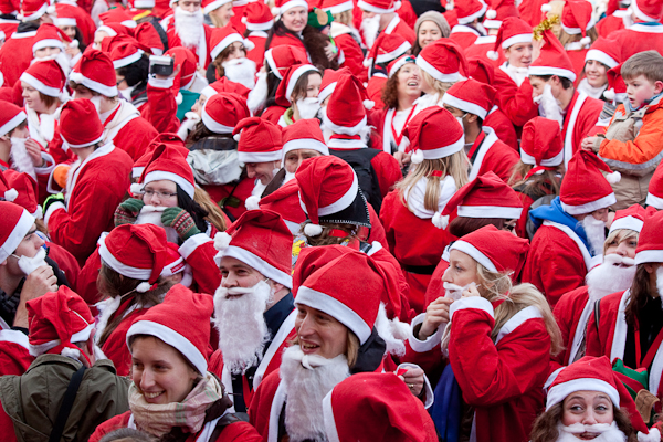 Santas queue up for their medals