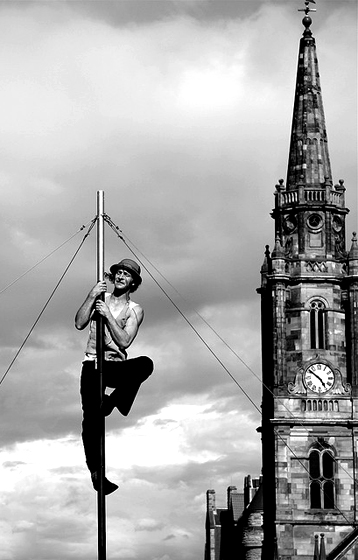 """Vertigo"" - Street performer midway through his act"