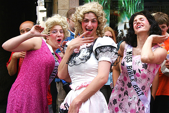"""""""Misses America"""" - performers posing for the camera"""