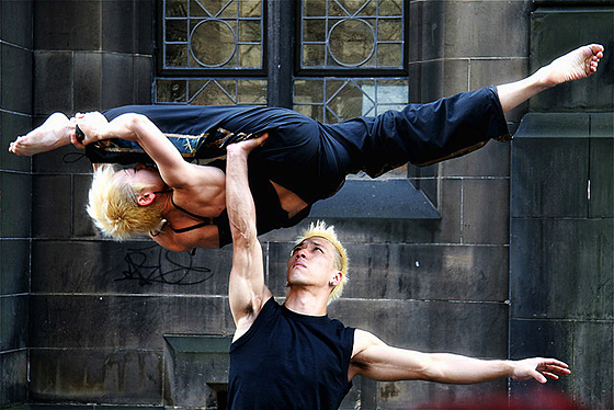 """Balance"" - Street performers outside St Giles"