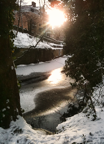 Wintry light on the frozen Water of Leith