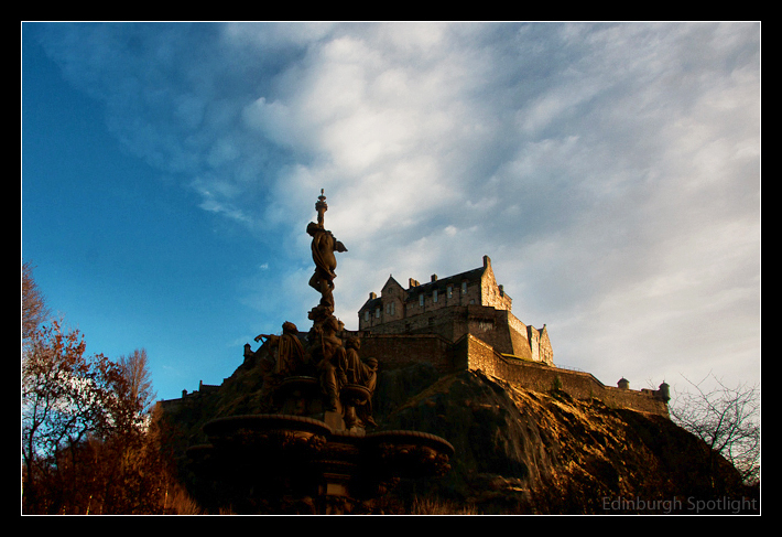 Edinburgh Castle as the winter sun begins to set