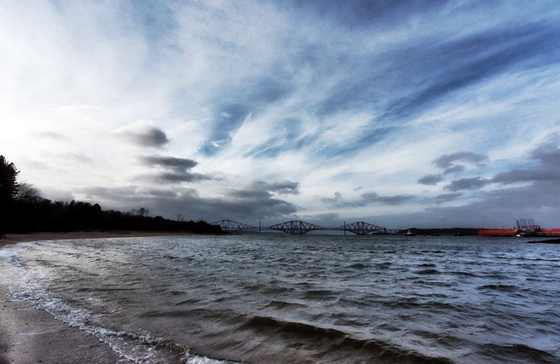 Looking west towards the Forth bridges