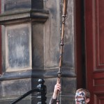 Celtic figures emerge with ancient instruments...