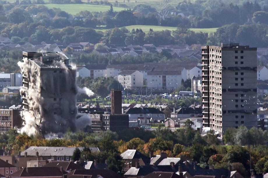 The flats mid-demolition
