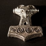 A brooch in the shape of Thor's Hammer