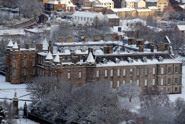 Holyrood Palace covered in snow