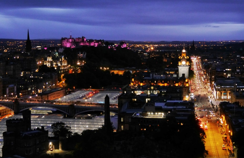 Edinburgh at dusk from the Nelson Monument on Fireworks night