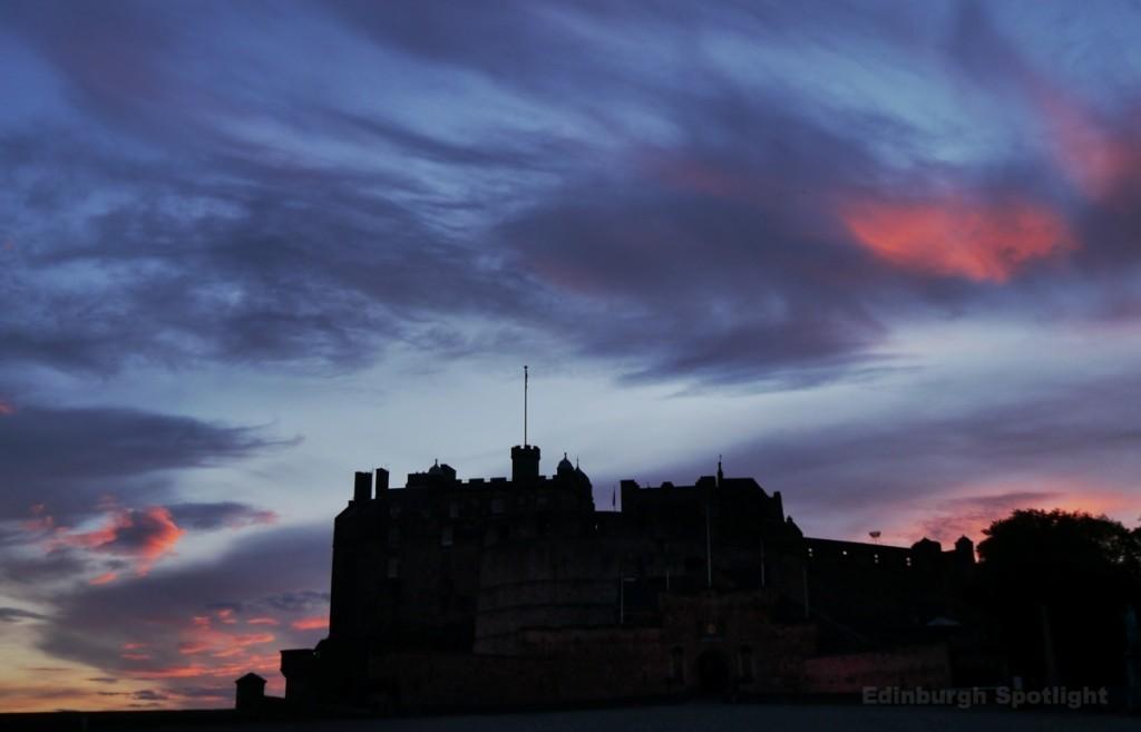 Silhouette of Edinburgh Castle at sunset