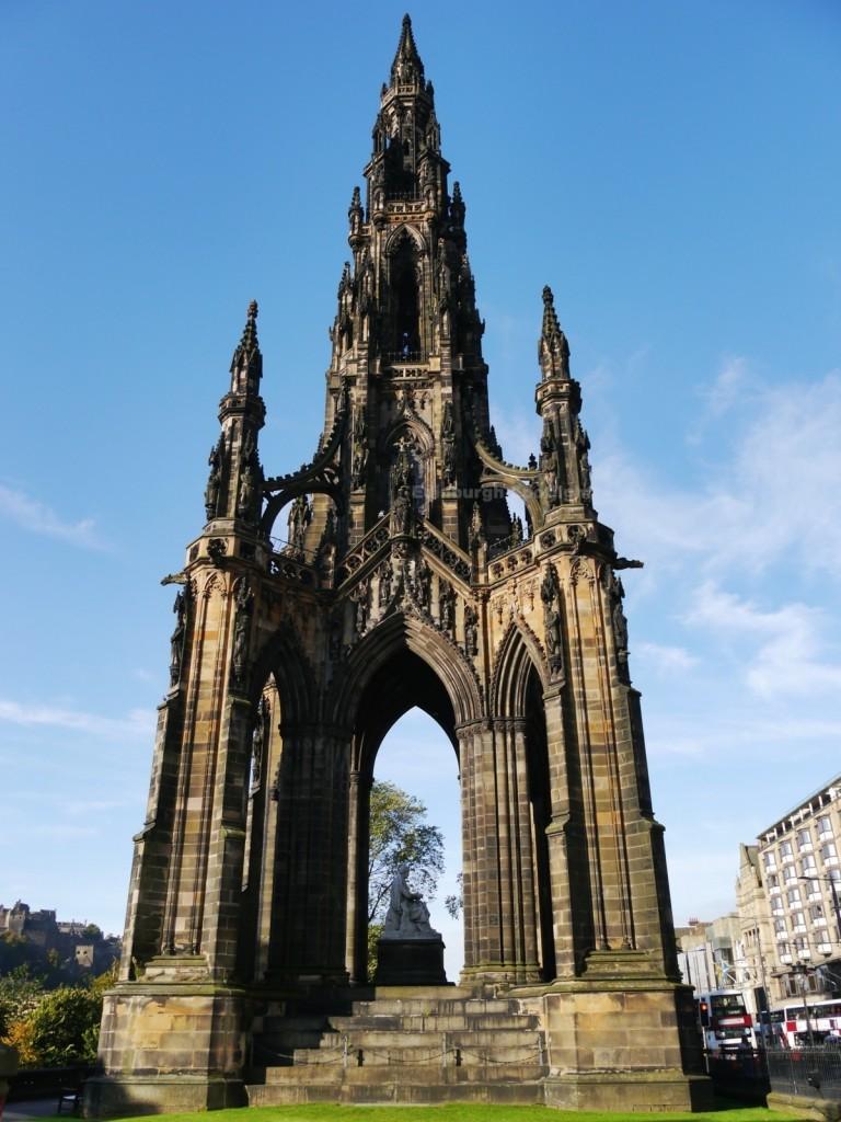 The Scott Monument in the autumn sunshine