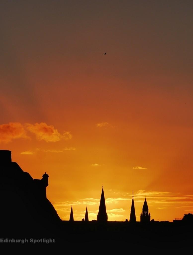 The Edinburgh skyline at sunset
