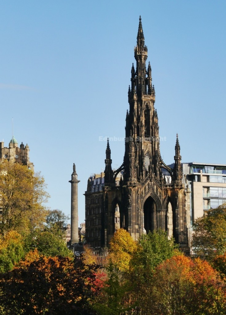 The Melville and Scott Monument from Princes Street Gardens