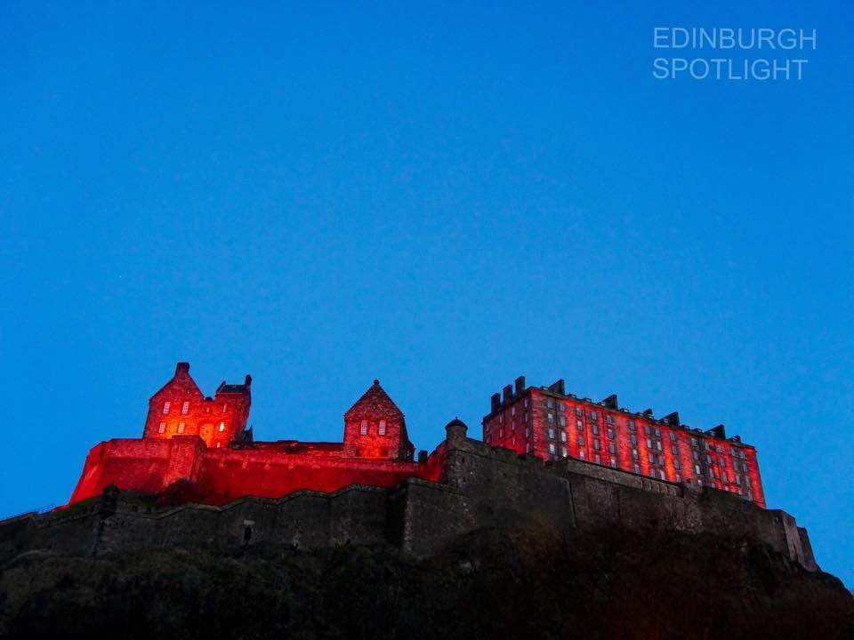 Edinburgh Castle on Christmas Day at dusk