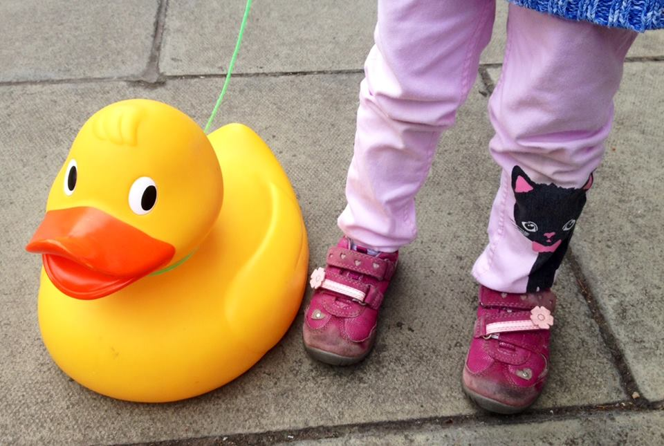 This girl wanted to enter her own duck last year, but it's against the rules to use your own