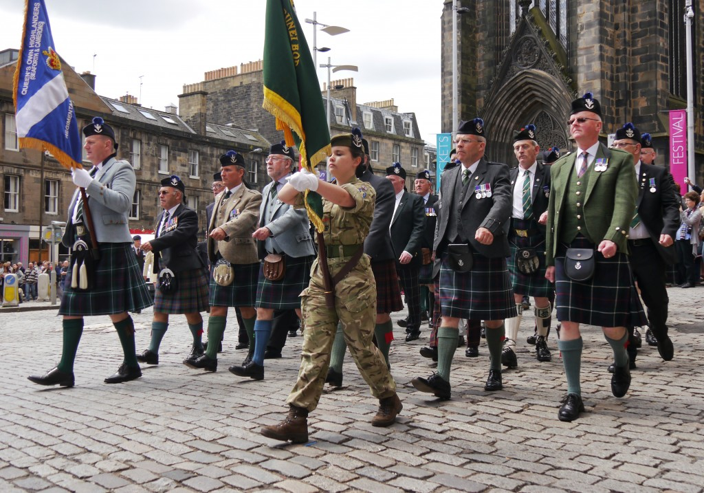 Veterans marching down the Royal Mile for Armed Forces Day