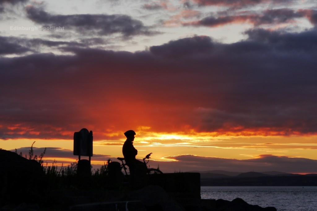 A cyclist at sunset