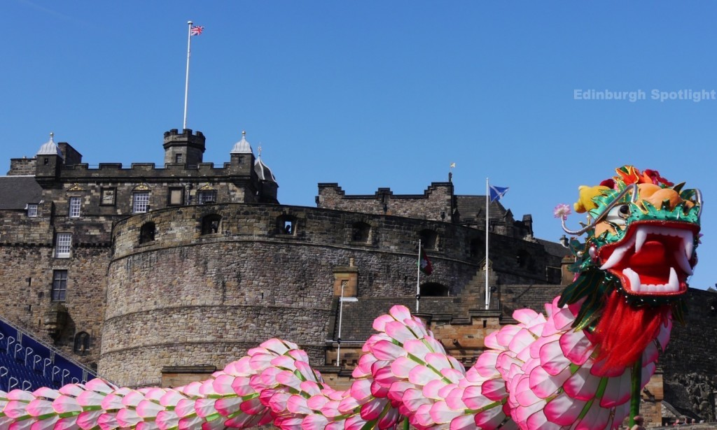 A dragon at Edinburgh Castle, as part of the Tattoo launch