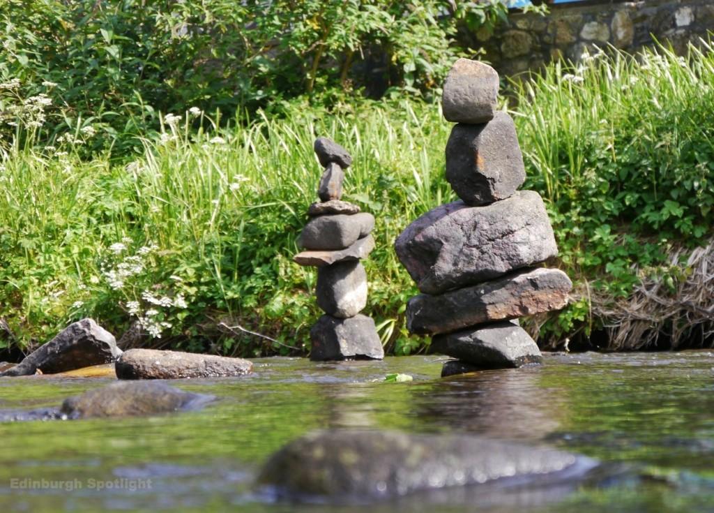 Dean Village balanced stones