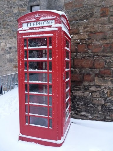 Dean Village telephone box in the snow