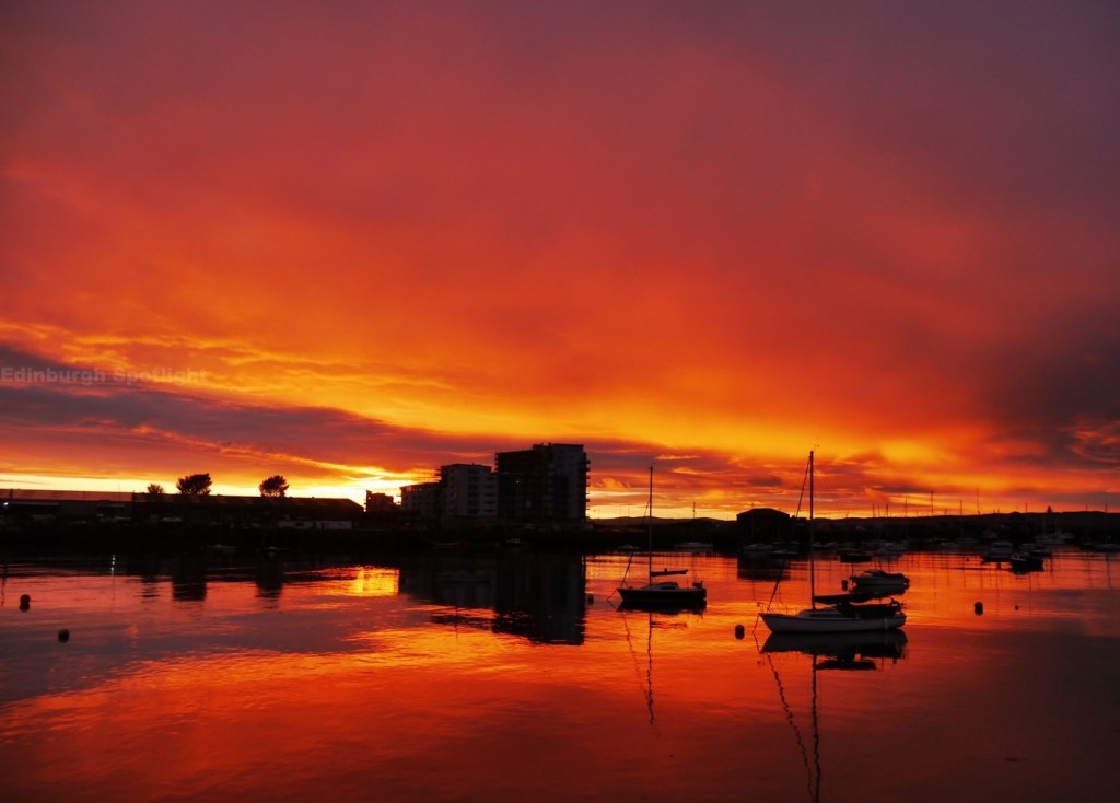 Incredible sunset on Tuesday 18th August at Granton Harbour