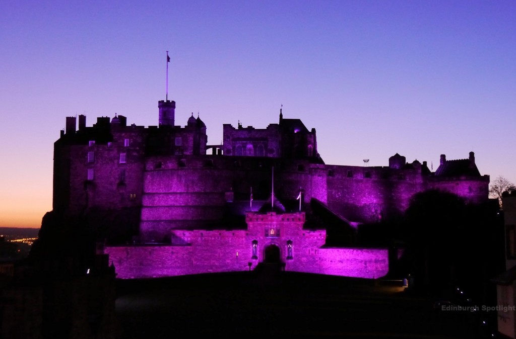A purple Edinburgh Castle to mark the start of Pancreatic Cancer Awareness Month