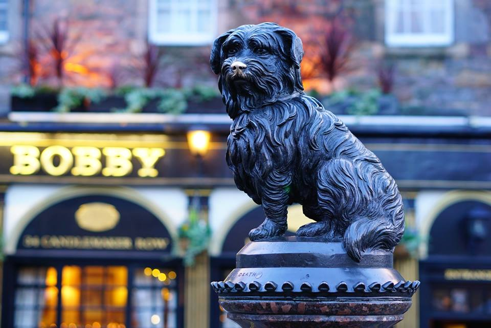 Greyfriars Bobby at dusk