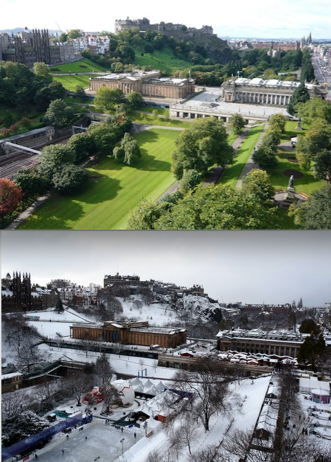 The very first photo comparison I did. Snow from 2010 and a summer photo from 2009!