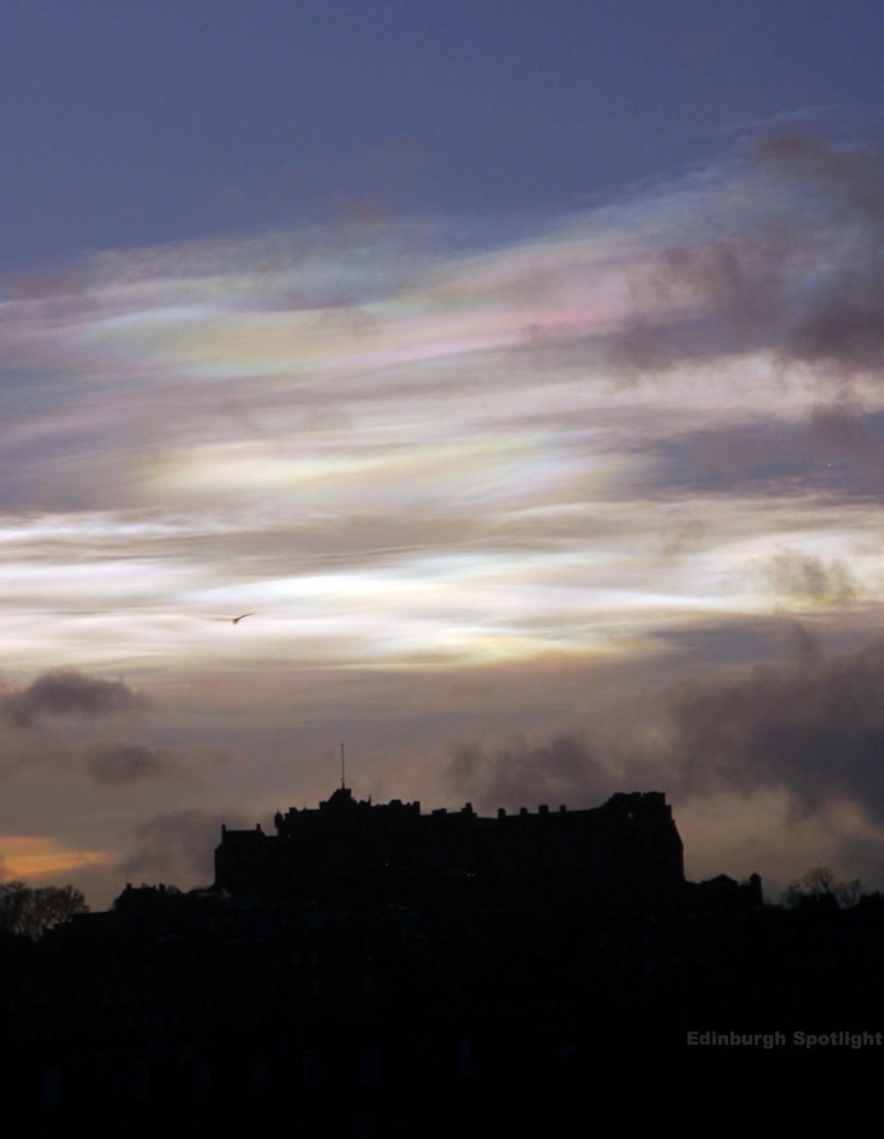Subtle nacreous clouds behind Edinburgh Castle