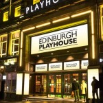 The Edinburgh Playhouse is one of the buildings glowing gold.