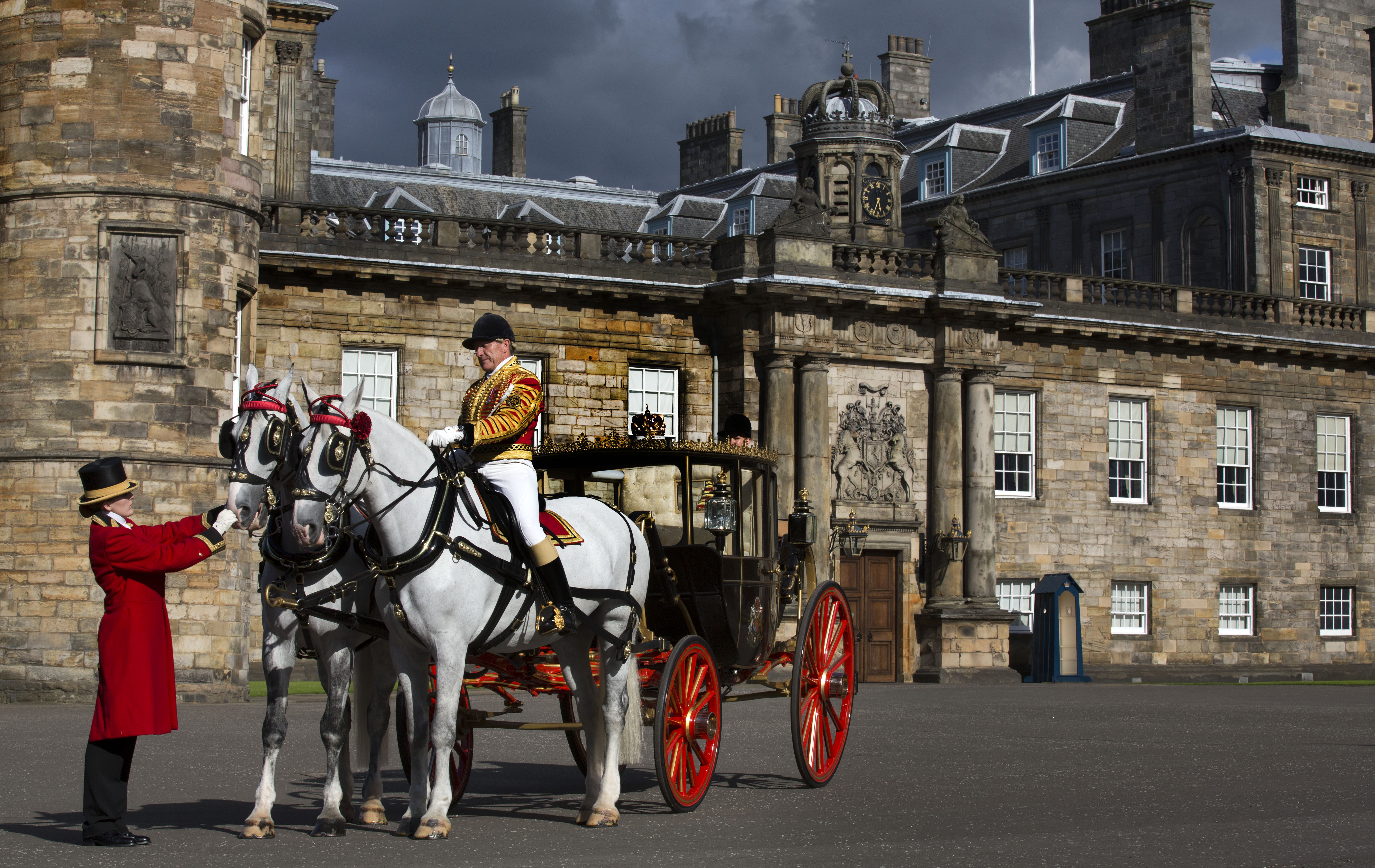 Edinburgh The Scottish State Coach At Holyrood Palace And Part Of The Royal Edinburgh Military