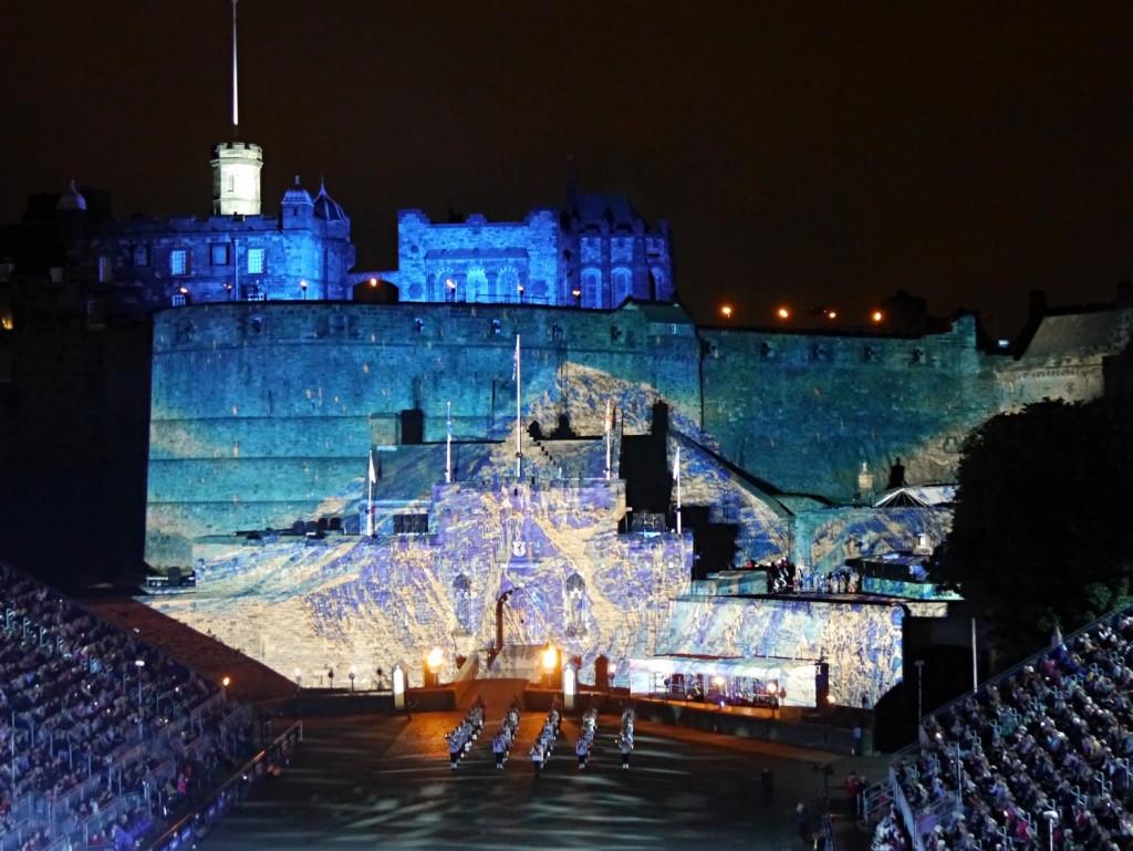 Mount Everest projected on to Edinburgh Castle