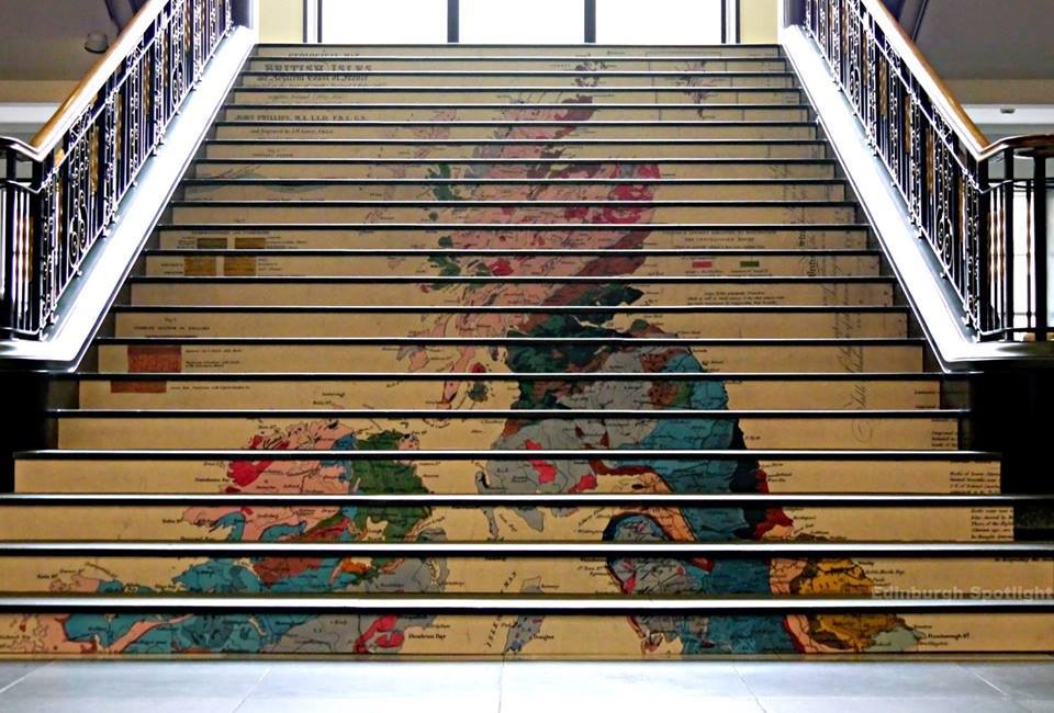 The stairs in the National Library of Scotland on George IV Bridge at the moment. The 'You Are Here' maps exhibition is on until April 2017.