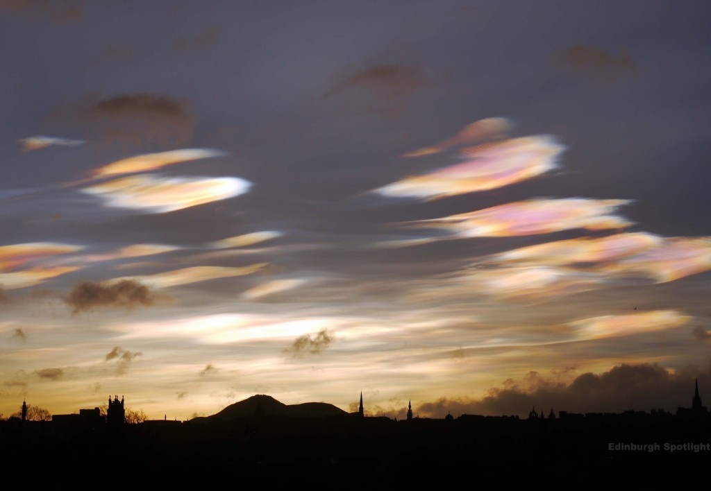 Nacreous clouds over Edinburgh, February 2016