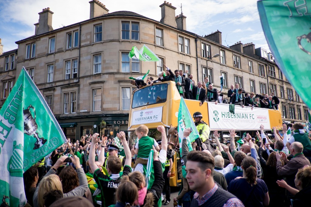 Hibs victory parade down Leith Walk by Kevin Kirk