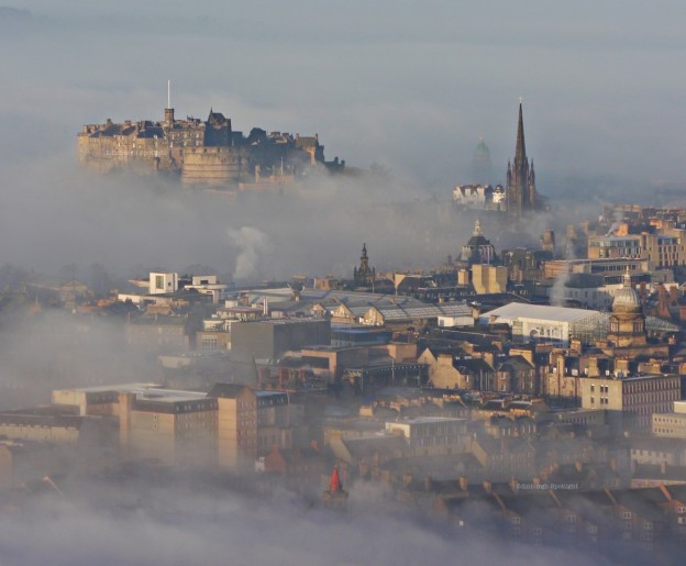 The Edinburgh Old Town emerging from the fog this morning.