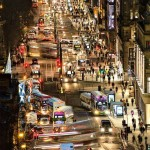 View down Princes St at night by David Tomlins