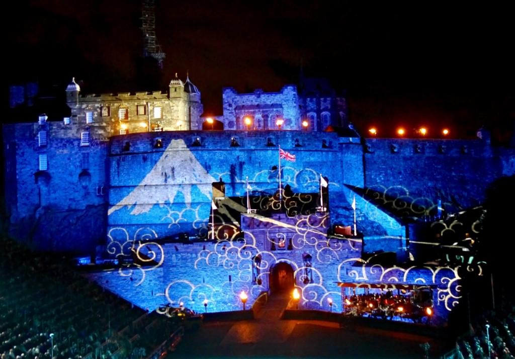 Mount Fuji projected onto Edinburgh Castle