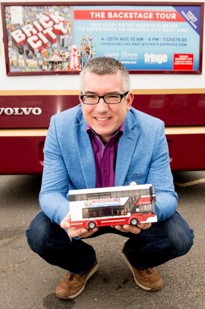 A lego Lothian Buses built by Warren Elsmore, who will be building a complete city live during the Edinburgh Fringe Festival Credit: Wullie Marr
